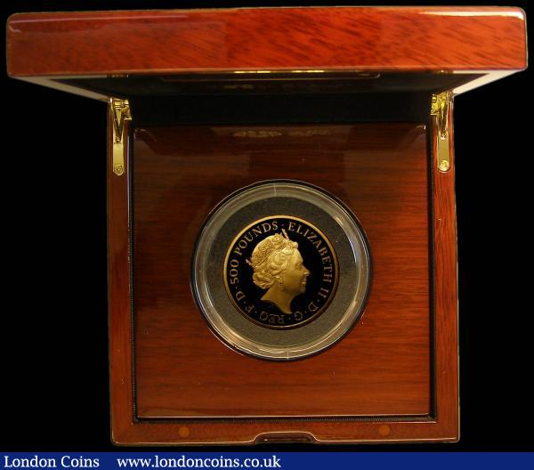 Five Hundred Pounds 2019 Queen's Beasts - The Yale of Beaufort 5oz. Gold Proof S.QCH6 FDC, in the Royal Mint box of issue with certificate and booklet. Number 16 of only 70 minted with just 55 in this presentation format : English Cased : Auction 169 : Lot 469
