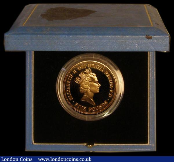 Five Pound Crown 1990 Queen Mother 90th Birthday Gold Proof S.L3 FDC in the blue Royal Mint box of issue with certificate, the box lid discoloured (coin as issued) : English Cased : Auction 169 : Lot 475