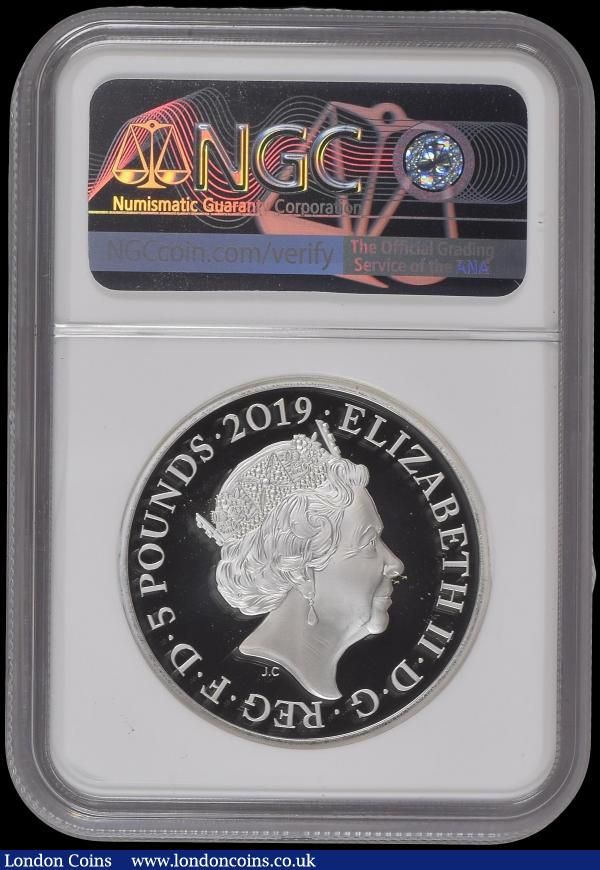 Five Pound Crown 2019 The Tower of London - Ceremony of the Keys Silver Proof Piedfort S.L76 in an NGC holder and graded PF69 Ultra Cameo - One of the first 75 struck, in the Royal Mint box of issue with certificate and booklet, only 75 pieces were issued in the graded presentation : English Cased : Auction 169 : Lot 490