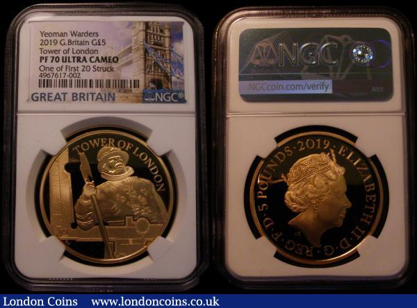 Five Pound Crown 2019 The Tower of London - The Yeoman Warders S.L75 Gold Proof FDC in an NGC holder 'One of the First 20 Struck' graded PF70 Ultra Cameo. Comes in the Royal Mint box with certificate. Number 02 of just 20 issued in this slabbed format. Low number certificate items are seldom offered and always keenly sought after. A total of 385 pieces were issue of this type in all formats : English Cased : Auction 169 : Lot 493