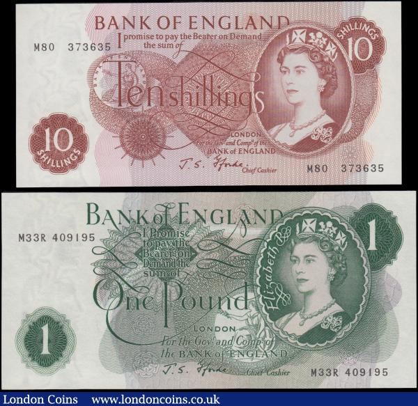 Bank of England Fforde QE2 portrait & seated Britannia Replacement issues 1967 (2) comprising a 10 Shillings B311 Red-brown and a very LAST RUN serial number M80 373635. Together with the 1 Pound B302 Green serial number M33R 409195. Both about UNC - UNC and very Scarce in high grades : English Banknotes : Auction 169 : Lot 53