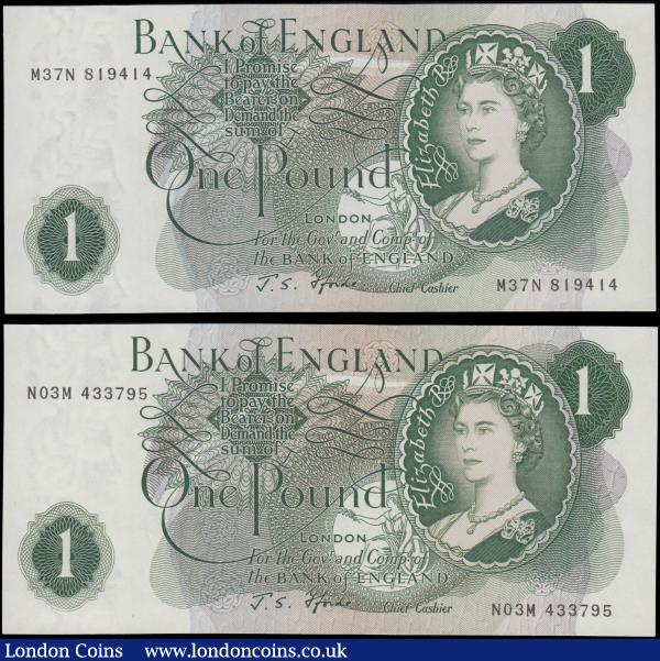 One Pounds Fforde QE2 portrait & seated Britannia Green G (Goebel) Reverse Replacement issues 1967 (2) comprising B304 serial number M37N 819414 and B308 serial number N03M 433795, both about UNC - UNC and Scarce in these high grades : English Banknotes : Auction 169 : Lot 54