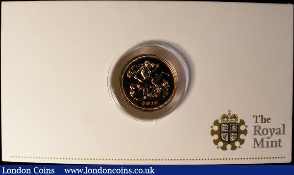Half Sovereign 2010 S.SB7, Quarter Sovereign 2010 S.SA1 both Lustrous UNC in the Royal Mint boxes of issue with certificates : English Cased : Auction 169 : Lot 540