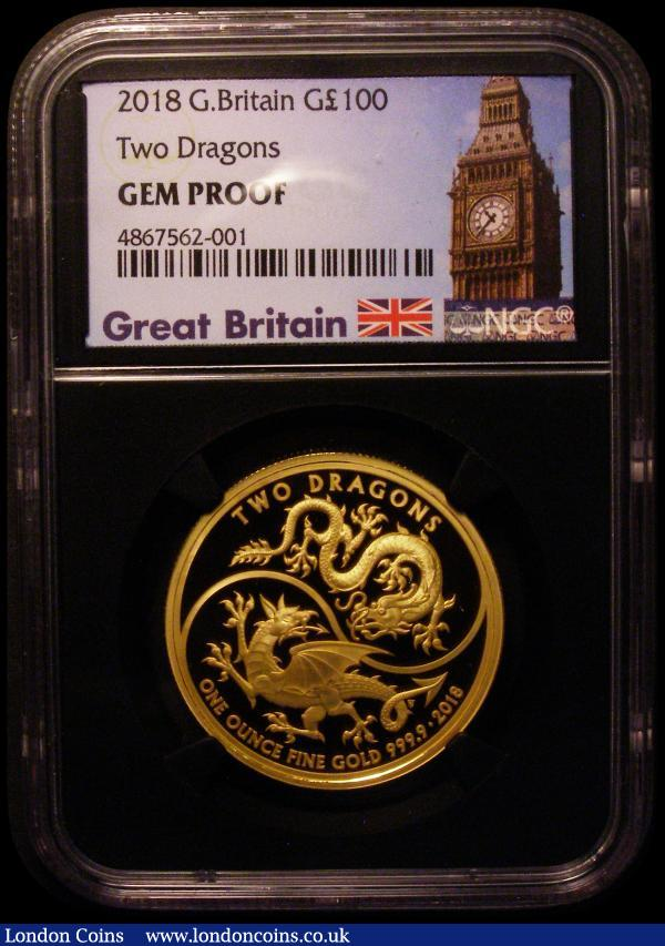 One Hundred Pounds 2018 Two Dragons One Ounce Gold Proof. Reverse design Chinese and Welsh dragons. FDC In an NGC holder and graded 'Gem Proof' comes in a Royal Mint box with certificate. Only 300 pieces minted : English Cased : Auction 169 : Lot 548