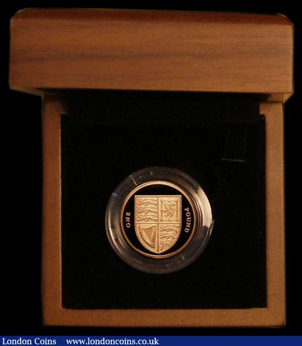 One Pound 2008 Shield of our Royal Arms J.27 Gold Proof FDC in the Royal Mint box of issue, without certificate : English Cased : Auction 169 : Lot 555
