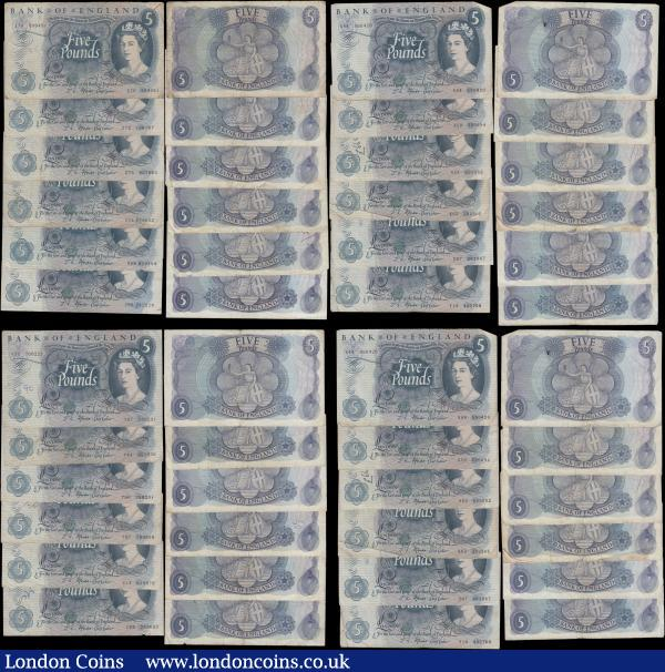 Five Pounds Fforde QE2 portrait & seated child Britannia issues 1967 (34) all circulated and in various grades ranging from about Fine/Fine to VF some with inked/pencilled accounting numerals and include a few examples of the first series prefixes from B312 (31) R55, R59, R67, S12, S23, S83, T16, T72, T92, U83, U85, W46, W48, W70, W76, X04, X44, X50, X54, X62, X97, Y14, Y37, Y44, Y50, Y97, Z13, Z69, Z70, Z72, Z75 and B314 (3) - 06B, 29B and 50A : English Banknotes : Auction 169 : Lot 58