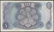 London Coins : A169 : Lot 59 : Five Pounds Fforde 1967 portrait issue B313 Replacement series M24 705769 GEF with some minor dirt h...