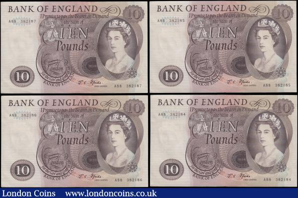 Ten Pounds Fforde Lion & Key B316 Brown issued 1967 (4) a consecutively numbered single prefix type for this cashier set serial numbers A88 382184 - A88 382187, EF and always collectable notes : English Banknotes : Auction 169 : Lot 60