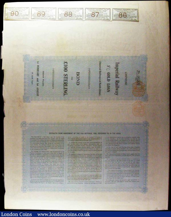 China, Chinese Imperial Railway Gold Loan, Imperial Railways of North China, bond for £100, London 1899, large format, brown on pale blue, with five coupons, minor edge damage, otherwise approaching VF : Bonds and Shares : Auction 169 : Lot 7