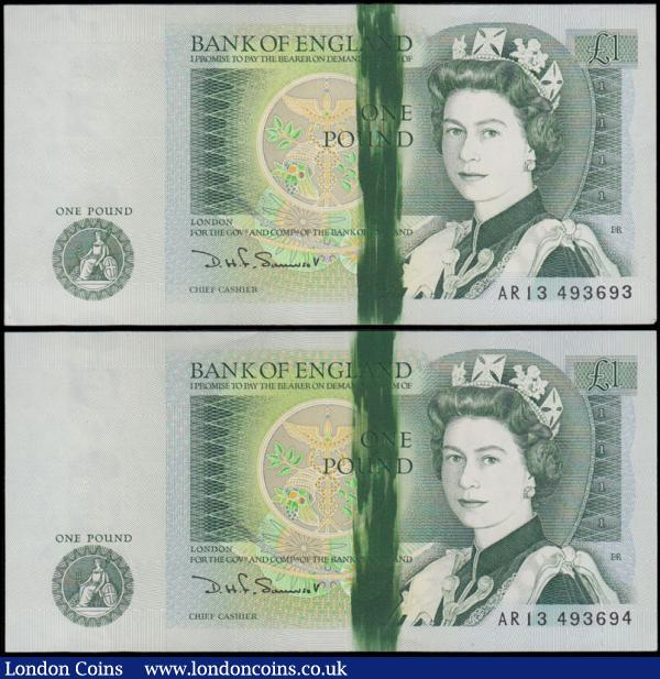 One Pounds Somerset QE2 pictorial & Sir Isaac Newton ERROR notes with a mostly solid green 10mm wide streak of extra colour at centre right on obverse B341 W Reverse (web-press) issues 1981 (2) and a consecutively numbered pair serial numbers AR13 493693 & AR13 493694. Both about UNC and very interesting : English Banknotes : Auction 169 : Lot 70
