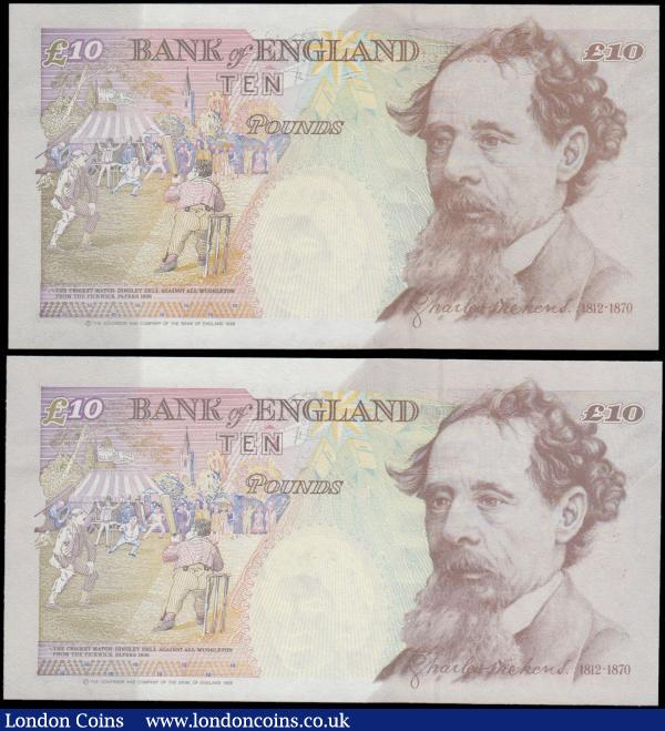 Bank of England 10 Pounds Kentfield & Lowther FIRST RUN LOW numbered pair with matching serial numbers 864 (2) consisting of B369 issue 1993 prefix DD01 and B382 issue 1999 prefix KL01, both UNC and very desirable and collectable pair : English Banknotes : Auction 169 : Lot 79