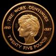 London Coins : A169 : Lot 828 : Alderney Twenty-Five Pounds 2002 5th Anniversary of the Death of Diana, Princess of Wales - The Work...