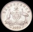 London Coins : A169 : Lot 839 : Australia Threepence 1927 KM#24 UNC with original mint lustre and original gold toning in the legend...