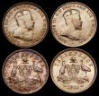 London Coins : A169 : Lot 840 : Australia Threepences 1910 Unc or near some with light toning over original brilliance (4)