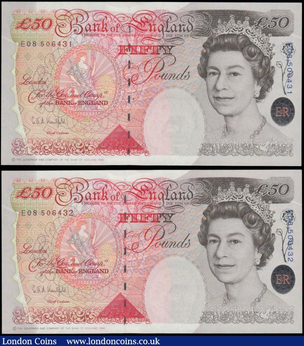 Fifty Pounds Kentfield QE2 & Sir John Houblon B377 Windowed thread Silver Foil Tudor Rose issues 1994 (2) a consecutively numbered pair serial numbers E08 506431 & E08 506432, both about UNC - UNC and pleasing : English Banknotes : Auction 169 : Lot 87