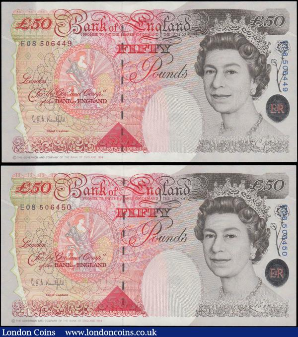 Fifty Pounds Kentfield QE2 & Sir John Houblon B377 Windowed thread Silver Foil Tudor Rose issues 1994 (2) a consecutively numbered pair serial numbers E08 506449 & E08 506450, both about UNC - UNC and pleasing : English Banknotes : Auction 169 : Lot 88