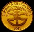 London Coins : A169 : Lot 885 : Colombia 50 Pesos Gold 1971 6th Pan-American Games, two figures within inner circle, the outer circl...