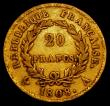 London Coins : A169 : Lot 908 : France 20 Francs Gold 1808A KM#687.1 Fine, one of only two dates of the 'REPUBLIQUE FRANCAISE&#...