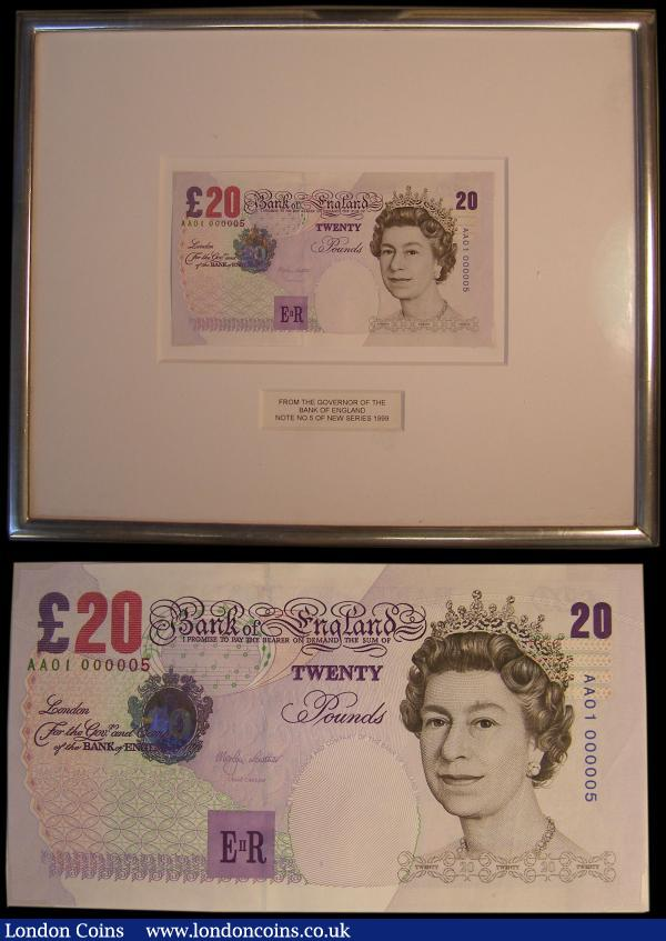 "Offered Here For Charity - Bank of England VIP tribute Twenty Pounds No. 5 note Merlyn Lowther QE II & Sir Edward Elgar B386 Series E Second Historical Series Foil Hologram & Windowed Thread issue 1999 and a First Run Low Non-circulation serial number AA01 000005, about UNC - UNC. According to Duggleby the lowest possible circulation serial number available of this Series E Historical Twenty Pounds before this offering is AA01 000031. This note from the Governor of the Bank of England in the original anti reflective museum glass frame with a note reading ""From The Governor Of The / Bank of England / Note No. 5 of New Series 1999"". It appears the note has not been glued in the frame and is held by precisely placed small holders with a small gap for each corner of the note to be inserted in. It has become a common tradition for the Bank of England to hold back the first printed notes with low or symbolic serial numbers when a new issue is released. Such notes are attributed to dignitaries, royalty and institutions that usually receive or were involved in the development of the new issue, for example Her Majesty the Queen traditionally receives the very first 000001 note, the Churchill War Rooms received the new Polymer Churchill 5 Pound note with the end of World War II year serial number AA01 001945, and the Winchester Cathedral received the new Polymer Jane Austen 10 Pound note with a serial number AA01 001817 marking the year that Jane Austen was buried there. A number of first run circulation serial numbers, the Bank of England is known to donate in Charity Auctions for various causes and many of these notes are very sought after by collectors and usually realise high figures as for example the very first possible circulation number of the 20 Pounds Bailey with serial number AA01 000007 realized £2,100, the first public available Churchill Polymer 5 Pounds serial number AA01 000017 realized £4,150 and the Jane Austen Polymer 10 Pounds AA01 000010 realized £7,200. In regard to this note the serial numbers prior to this one were reportedly donated as follows to H.M. the Queen, the Prime Minister, the Bank of England Governor and the Chancellor.  : English Banknotes : Auction 169 : Lot 91"