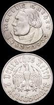 London Coins : A169 : Lot 931 : Germany - Third Reich 2 Reichsmarks (2) 1933D 450th Anniversary of the Birth of Martin Luther KM#79 ...