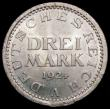 London Coins : A169 : Lot 943 : Germany - Weimar Republic 3 Reichsmarks 1924A KM#43 the coin slightly off-centre in striking, thus c...