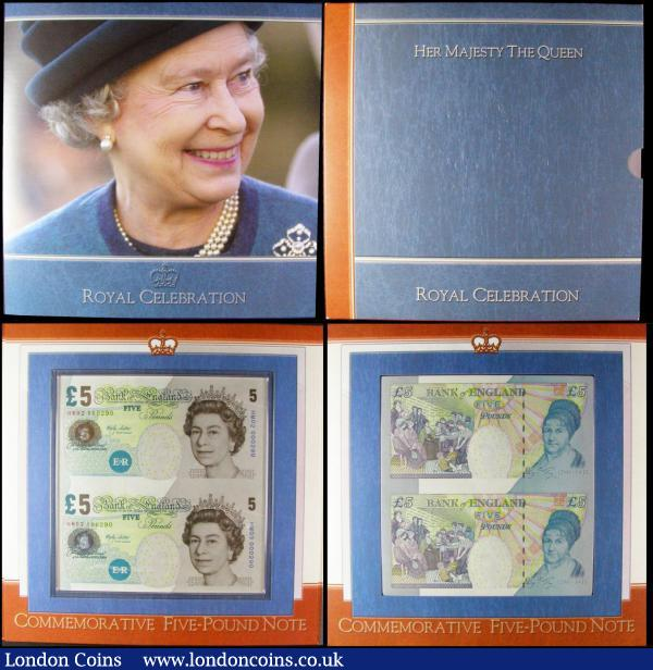 Bank of England limited edition presentation pack C108, Kentfield £5 sheet of 3 uncut notes, serial numbers AC01 000283, AC02 000283 and AC03 000283, UNC. Bank of England limited edition presentation pack C169, Royal Celebration mini sheet, Lowther £5 uncut pair serial numbers HM02 000290 & HM03 000290, UNC with certificate : English Banknotes : Auction 169 : Lot 97