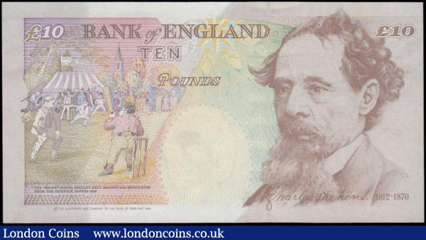 Ten Pounds QE2 & Charles Dickens B382 Orange-Brown issue 1999 and very FIRST RUN and LOW serial number KL01 00653, UNC and these low numbers very collectible and sought after : English Banknotes : Auction 170 : Lot 100