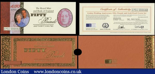 Fifty Pounds Kentfield UNC. Special Prefix Commemorative HM The Queen's Golden Wedding Anniversary 1997 Limited edition issue B377 LOW serial number EP50 000082 from the Limited boxed edition C125 with the 22ct Gold 5 Pound Crown, . Lot does not include the coin and box but includes the Gold/Brown folder with the Certificate of Authenticity. A total issue limit of 2750 notes for the occasion, but only 150 were reserved for these sets and are the only ones with this special prefix to commemorate the occasion with non issued in general circulation  : English Banknotes : Auction 170 : Lot 102