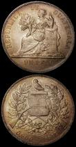 London Coins : A170 : Lot 1039 : Guatemala Peso (2) 1897 Obverse: Signature LA GRANGE below UN PESO, Reverse: no mintmark between 0,9...