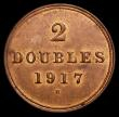 London Coins : A170 : Lot 1041 : Guernsey 2 Doubles 1917H as S.7216A Wide date with H central, LCGS variety 01,UNC with traces of lus...