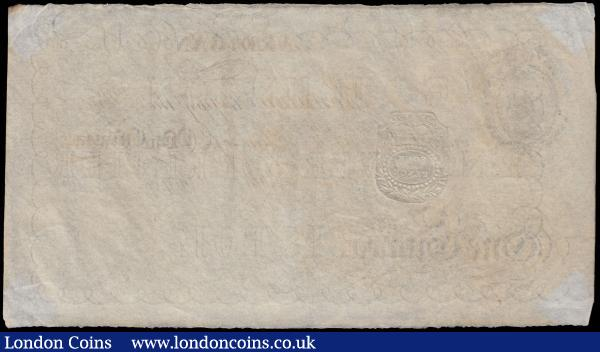 Cardigan 1 Guinea Unissued Remainder circa 1830-90's (Outing 427b) embossed revenue stamp for 4 pence, printed by Johnson fc, Bristol, VF-GVF : English Banknotes : Auction 170 : Lot 106