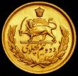 London Coins : A170 : Lot 1063 : Iran 2 1/2 Pahlavi Gold MS2537 (1978) KM#1201 Lustrous UNC, with a well struck reverse, this issue o...