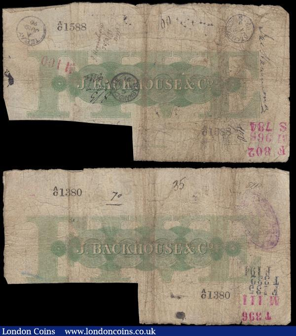 Stockton on Tees Bank 5 Pounds For Jonathan Backhouse & Company, cut-cancelled (Outing 2050c; Grant 2766) dated 1st September 1887 (2) No. A/C 1588 & A/C 1380, both VG multiple pinholes, bank stamps and inked numerals : English Banknotes : Auction 170 : Lot 112