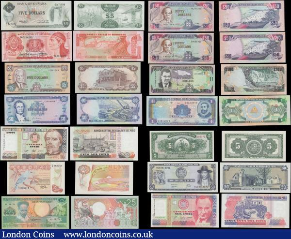 "America - South & Central (24) a delightful selection of all high grade notes about UNC - UNC and different denominations and issuers. Comprising Argentina  5 Australes Pick 324 ND 1985-89. Colombia  10 Pesos Pick 407c 1965. Ecuador  20 Sucres Pock 121A 1988 without printers imprint & ""Sociedad Annonima"". Guatemala (3) including 50 Centavos de Quetzals = 1/2 Quetzals (2) Pick 58c 1983 and Pick 72a 1989. Also a 1 Quetzal Pick 73c 1992.  Guyana 5 Dollars Pick 22e ND 1966-92 signatures Mathews & Greenridge, TDLR print. 1 Lempira Pick 68c 1989. Jamaica (5) including 5 Dollars Pick 70d 1991. 10 Dollars Pick 71d 1992. 50 Dollars (2) Pick 73b 1993 and Pick 79c 2002. 100 Dollars Pick 80b 2002. Nicaragua 1 Cordoba Pick 173 Series A 1990. Peru (4) including 5 Soles de Oro Pick 83 1966. 50 Soles de Oro Pick 101c 1974. 50000 Intis Pick 142 1988 and 100000 Intis Pick 145 1989 this a Banco de Mexico print. Suriname (5) including a 2 and 1/2 Gulden Pick 119 1985. 25 Gulden Pick 132b 1988. 10 Gulden Pick 137b 1996. 25 Gulden Pick 138c 1996. And a 100 Gulden Pick 139b 1998. Uruguay 2000 Nuevos Pesos Pick 68 Series A 1989. Some of these notes with matching last numbers in the serials. : World Banknotes : Auction 170 : Lot 123"
