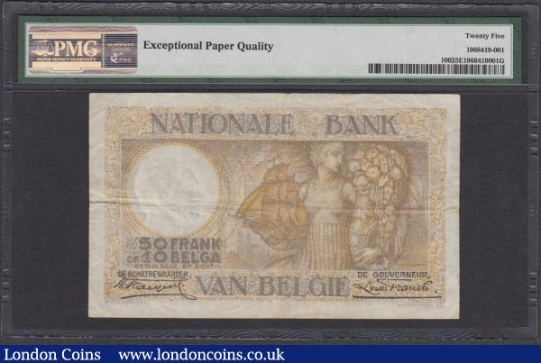 Belgium Banque Nationale 50 Francs / Frank = 10 Belgas / Belga Pick 100 dated 14th September 1927 serial number 0072B0958, in a PMG holder and graded VF 25 EPQ (Exceptional Paper Quality) and a rare note with this being one of only 3 recorded examples by the PMG Population Report at the time of writing. In brown on yellow underprint featuring a farm woman holding a sheaf of wheat and two horses. The reverse illustrating an Allegorical female figure holding a ship and a large cornucopia (a symbol of abundance & nourishment) and an industrial factory illustration in the underprint. These illustrations enframed in an exquisitely designed frame with agricultural produce, flowers and stars. A few tonal blue outlines appear on the note to attribute to the fabulous design. Watermarked with a bust of King Leopold I of Belgium. : World Banknotes : Auction 170 : Lot 138