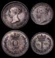London Coins : A170 : Lot 1893 : Maundy Set 1877 ESC 2490, Bull 3530 UNC with a dark tone the Twopence with a hairline scratch on the...