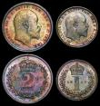 London Coins : A170 : Lot 1903 : Maundy Set 1907 ESC 2523, Bull 3613 EF to UNC nicely toned, the Threepence with traces of old lacque...