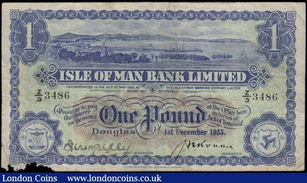 Isle of Man Bank Limited 1 Pound Pick 6c (BY IM3d; IOMPM M281) dated 1st December 1953 series Z/3 3486 signatures J. N. Ronan & R.H. Kelly, a Scarce about VF with a minor ink spill to lower left corner mostly marginal and not undermining the note's general appearance. Blue on pale green and brown underprint with an illustration of Douglas harbour at centre top. The reverse with a blue frame and guilloche panels on pale green underprint with Isle of Man's Triune Coat of Arms. Printed by Waterlow & Sons Ltd., London Wall, London. : World Banknotes : Auction 170 : Lot 195