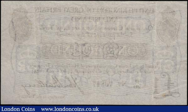 One Pound Bradbury Second issue T11.1 De La Rue black Five digit serial prefix letter only issue 1914 serial number P/20 70847, a presentable VF or better with minor wear  and no observable flaws and a pleasing century old example : English Banknotes : Auction 170 : Lot 20