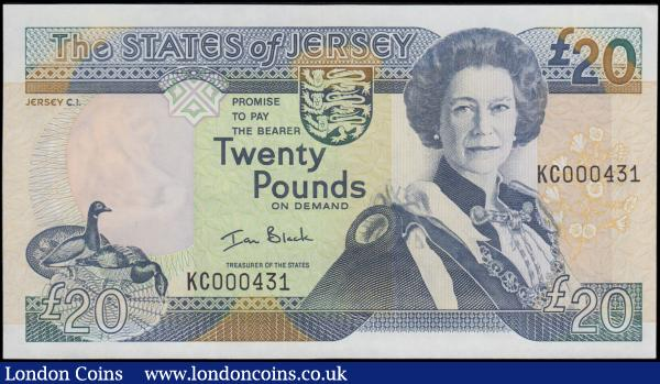 "Jersey 20 Pounds Pick 29 (BY JE43b) ND 2000 signature Ian Black and a FIRST prefix LOW number for this type KC 000431, about UNC - UNC and a very collectible example. Mainly in blue featuring a portrait of Queen Elizabeth II and the ""£20"" symbol now filled in the upper right corner on obverse. The reverse with an illustration of St. Queen's Manor, the traditional home of the Seigneur of St. Ouen, and the ancestral home of the De Cartere with earliest record of the house dating back to 1135. Printed by Thomas De La Rue & Company and watermarked with a Jersey Cows head. : World Banknotes : Auction 170 : Lot 209"