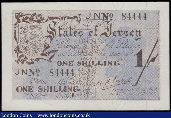 Jersey Treasury of the States 1 Shilling Pick 2a (BY JE2) World War II German Occupation Period note issued in April 1942 and June 1942 ND with the prefix JN only and serial number 84444 signed H. F. Ereaut titled Treasurer of The States of Jersey and the note in brown on a blue underprint featuring silhouettes of 2 man gossiping in the underprint and Jersey's Coat of Arms at upper left on obverse and the reverse in brown with featuring the same silhouettes of the 2 man gossiping as obverse. About UNC - UNC and Scarce in this grade : World Banknotes : Auction 170 : Lot 210