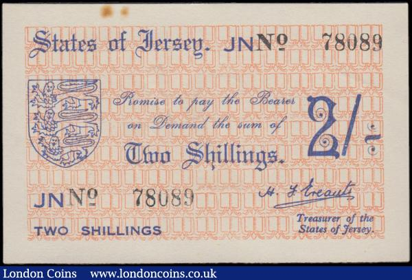Jersey Treasury of the States 2 Shillings  About UNC - UNC  Pick 4a (BY JE3) World War II German Occupation Period note issued in June 1941 ND with the prefix JN only and serial number 78089 signed H. F. Ereaut titled Treasurer of The States of Jersey. The note in blue on salmon pink underprint featuring Jersey's Coat of Arms at left and the serial number in black with the prefix and signature embedded in the printing on obverse and the reverse with large blue denomination at centre on a salmon pink underprint. , Minor Rust and Scarce note,  : World Banknotes : Auction 170 : Lot 211