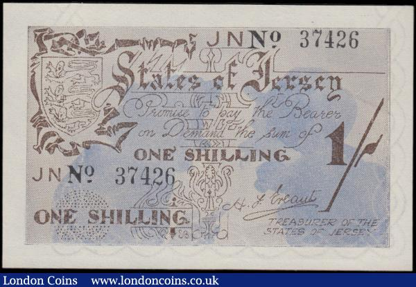 Jersey World War II German Occupation 1 Shilling Pick 2a (BY JE2; Rosenberg ZWK-100e (formerly 656e)) issued in April 1942 and June 1942 ND with the prefix JN only and serial number 37426, GEF - about UNC and Scarce. Signed H. F. Ereaut titled Treasurer of The States of Jersey and the note in brown on a blue underprint featuring silhouettes of 2 man gossiping in the underprint and Jersey's Coat of Arms at upper left on obverse and the reverse in brown with featuring the same silhouettes of the 2 man gossiping as obverse : World Banknotes : Auction 170 : Lot 215