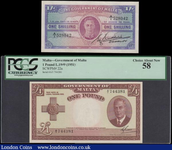 "Malta (2) a pair of very collectible George VI portrait issues comprising a World War II period example 1 Shilling Pick 16 ND 1943 uniface serial number A/1 528042, uniface in purple blue and lilac on teal and multicolour underprint, EF. Along with a 1 Pound Pick 22 Law 1949 (1951) possibly a first series prefix serial number A/1 744381 and a high grade example in a PCGS Currency holder Choice About UNC 58, a Thomas De La Rue & Company Limited print in reddish brown on pale lime green and pale red underprint and watermarked with the allegorical figure of Malta, also features the St. George Cross at left on obverse awarded to the people of Malta for their courage, bravery and involvement in World War II being under constant besiege by Axis forces, serving to  ""bear witness to the heroism and devotion of its people"". : World Banknotes : Auction 170 : Lot 220"