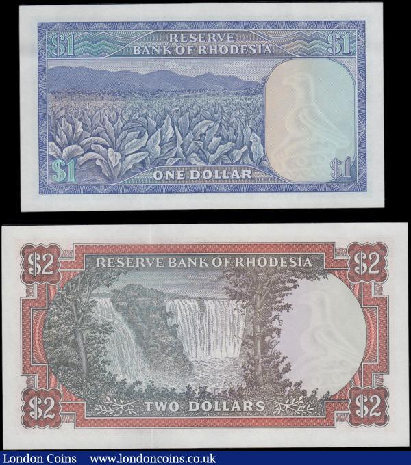 Rhodesia (2) a high grade about UNC - UNC denomination pair of the 1979 Arms and Zimbabwe bird watermark issues including the 1 Dollar Pick 38a dated 2nd August 1979 and with a collectible BINARY RADAR serial number L/127 551155, blue on multicolour with a tobacco field illustration. Along with the 2 Dollars Pick 39 dated 24th May 1979 serial number K/166 318669 and this with minor pencil in upper margin but not extending to design, red on multicolour with an illustration of the breath-taking and well-recognized Victoria Falls on the Zambezi river. : World Banknotes : Auction 170 : Lot 233