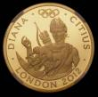London Coins : A170 : Lot 2429 : Twenty Five Pounds 2010 Gold One Quarter Ounce, London 2012 Olympics, Faster - Diana S.4905 Gold Pro...