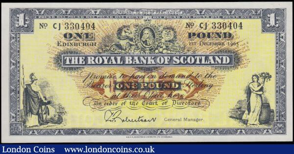 Scotland The Royal Bank of Scotland further Reduced size Lizars design 1 Pound Pick 325a (BY SC804b; PMS RB56b) dated 1st December 1965 signature G.P. Robertson serial number CJ 330404, a choice UNC and very pleasing in this high grade. Blue on pale yellow and red/brown sunburst underprint featuring Portrait of George I flanked by the Lion of England and Scotland's Unicorn, along with female allegorical figures at lower left and right. The reverse with a blue panel value and Bank's name at centre flanked by illustrations of the Head office buildings with Edinburgh at left and Glasgow at right, the later with the W. Egan's hidden name. : World Banknotes : Auction 170 : Lot 248