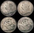 London Coins : A170 : Lot 2482 : Crowns (4) 1895 LIX ESC 309, Bull 2599, Davies 512 T of VICTORIA points to a space, dies 2A, VF the ...