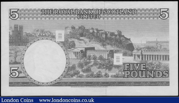 Scotland The Royal Bank of Scotland Limited 5 Pounds Pick 330 (BY SC816a; PMS RB70) a first date for this issue 19th March 1969 with 2 signatures A.P. Robertson & J.B.Burke serial number A/8 174606, EF - GEF and a collectible example. Blue on multicolour featuring a large Coat of Arms at left and an illustration of  Edinburgh Castle on reverse also incorporating barcode encodings. : World Banknotes : Auction 170 : Lot 249