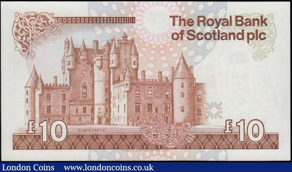Scotland The Royal Bank of Scotland plc 10 Pounds Pick 348 (PMS RB87, BY SC852) dated 22nd February 1989 signature Maiden serial number A/82 514467, fresh and crisp UNC. Mainly brown featuring a portrait of Lord Ilay at right and as watermark and an illustration of the Bank's head office building t centre in the underprint. The reverse with an illustration of Glamis Castle. : World Banknotes : Auction 170 : Lot 250